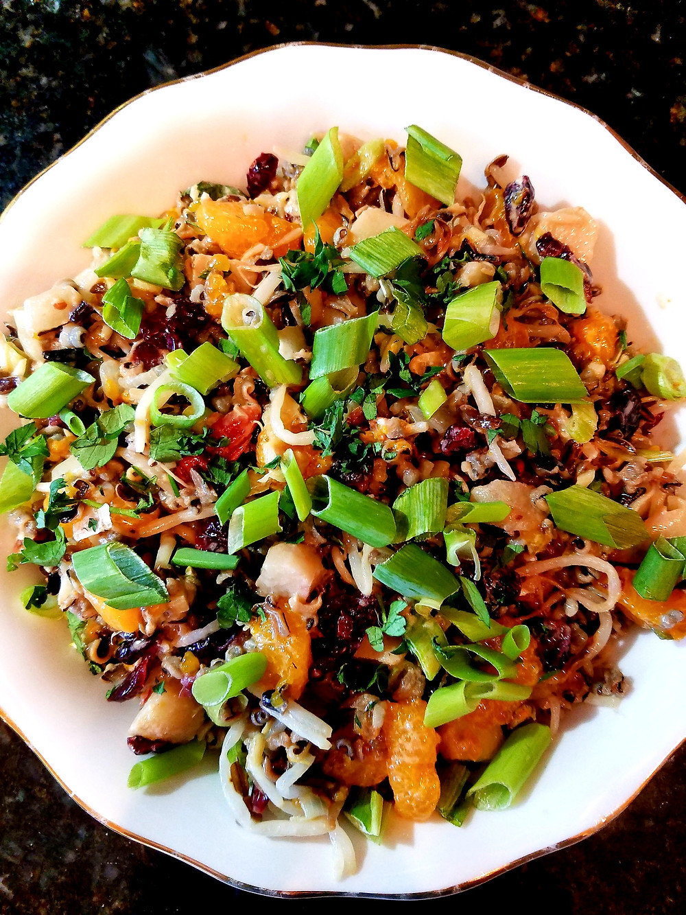Wild Rice Salad with Cranberries and Pecans (Gluten-free, soy-free, dairy-free)