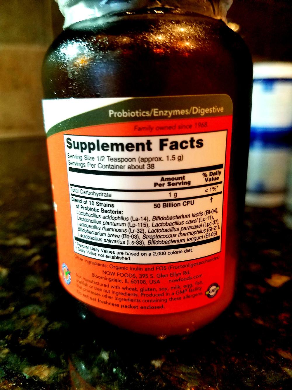 NOW Supplements, Probiotic-10 Powder, 50 Billion, with 10 Probiotic Strains