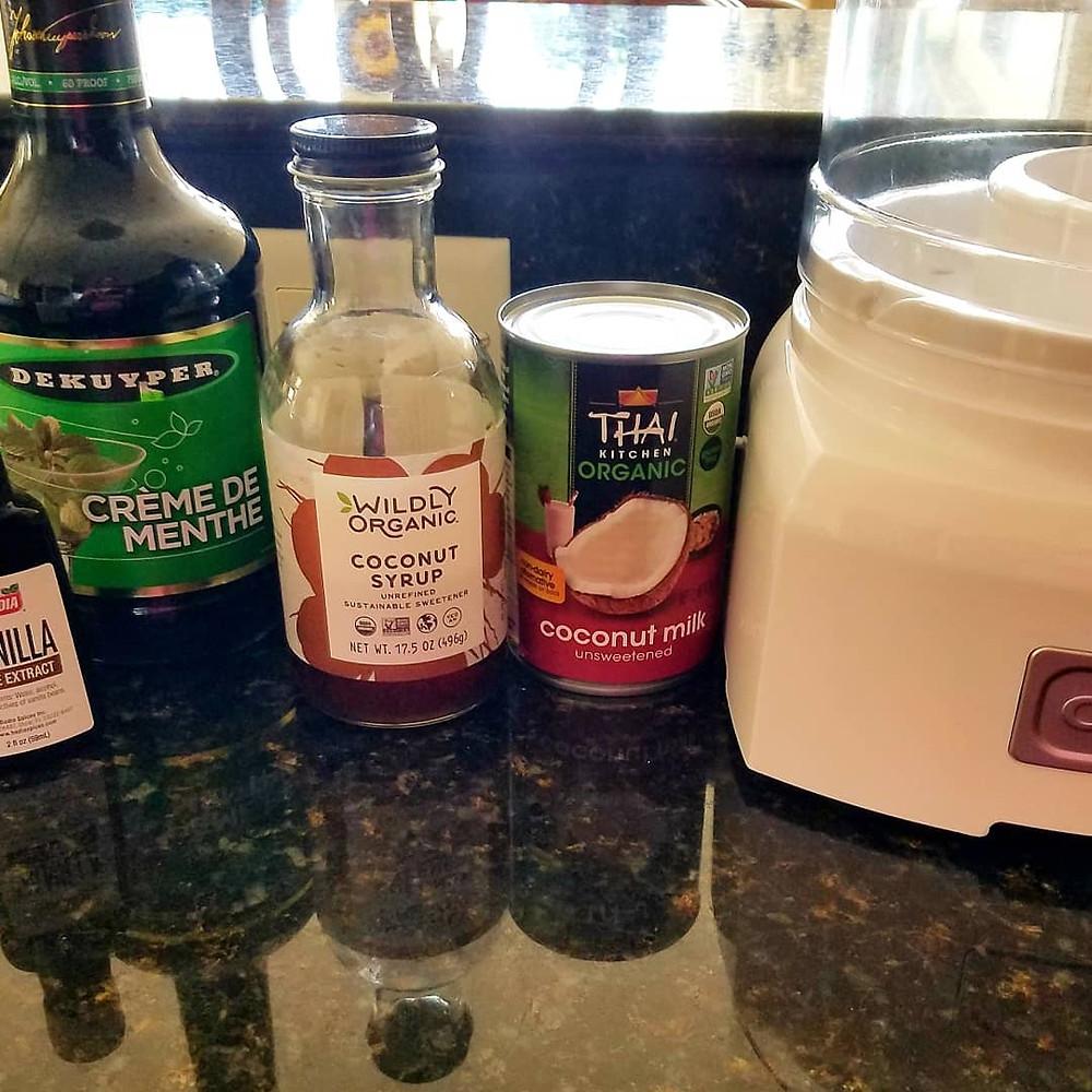 Creme de Menthe 'Grasshopper' Coconut Milk Ice Cream. (No gluten, soy, dairy)