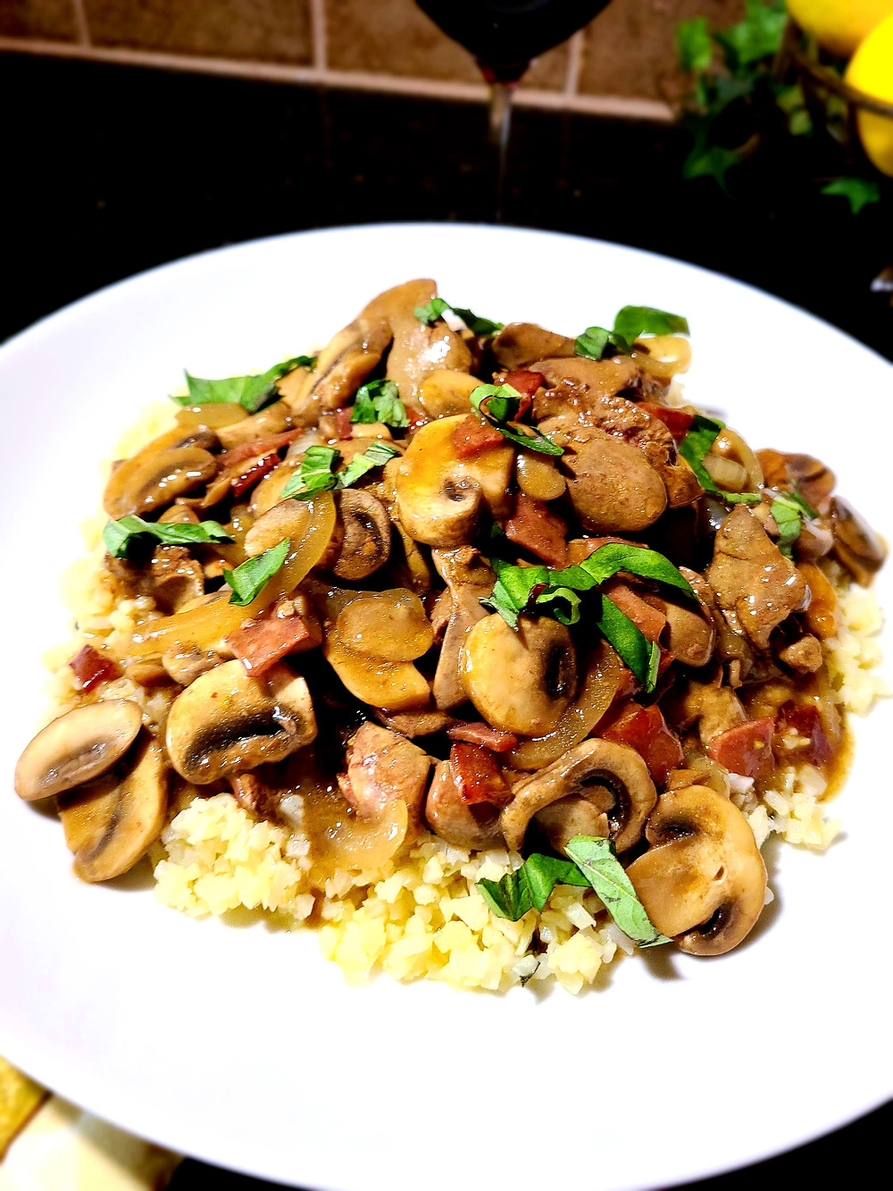 Chicken Livers with Bacon-Onion-Mushroom Sauce (Gluten-free, soy-free, AIP)