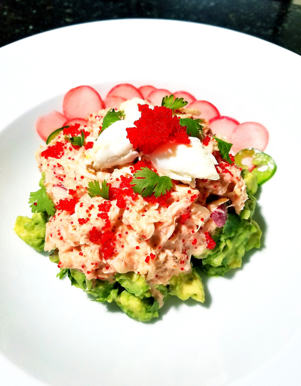 Spicy Crab and Avocado Stack (Gluten-free, soy-free, dairy-free, grain-free)