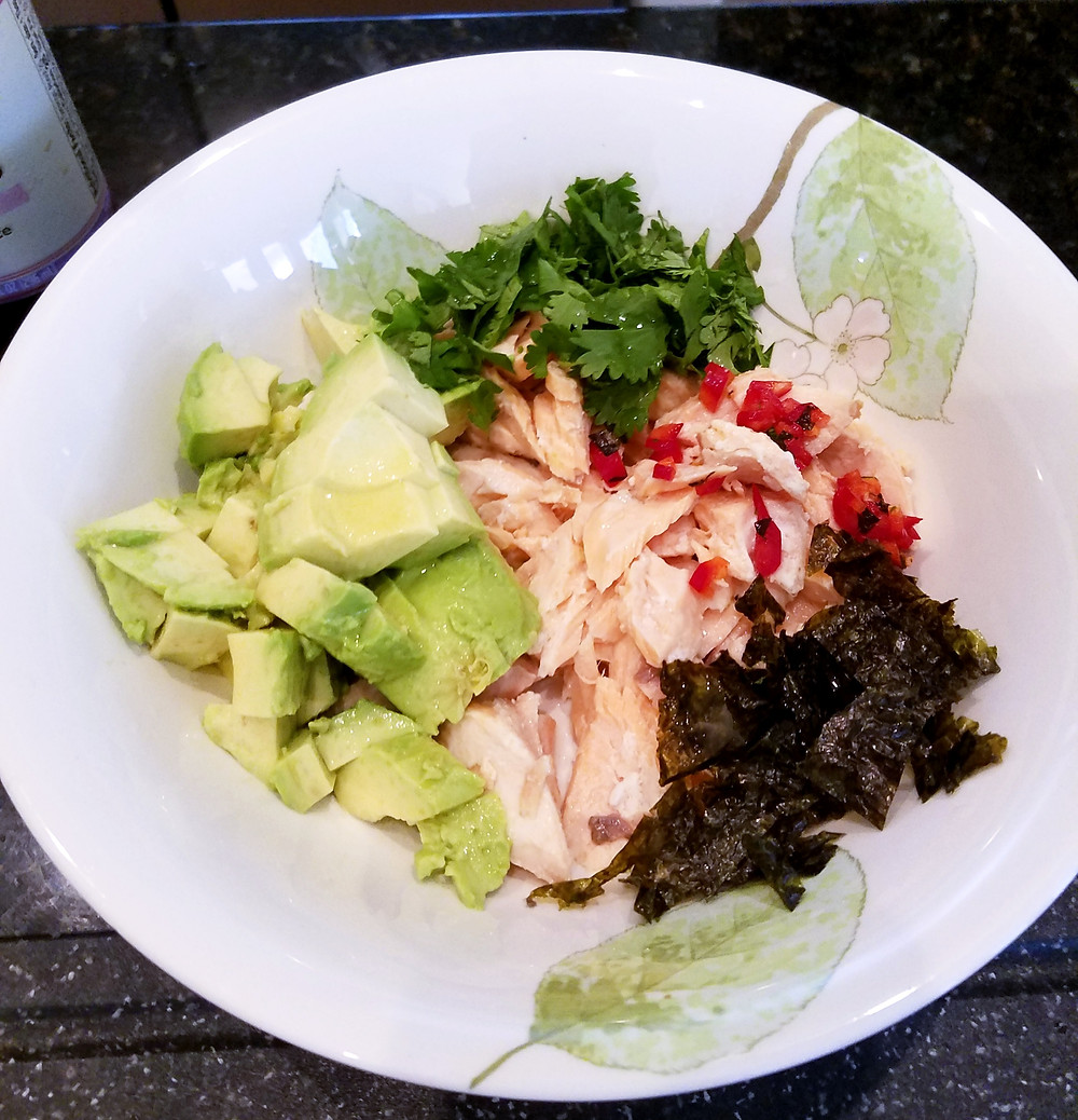 Avocado Salmon Salad (No gluten, soy, dairy, grains)