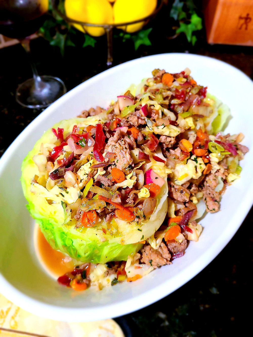 Egg Roll in a CABBAGE Bowl (Gluten-free, no grains, no dairy, no soy)