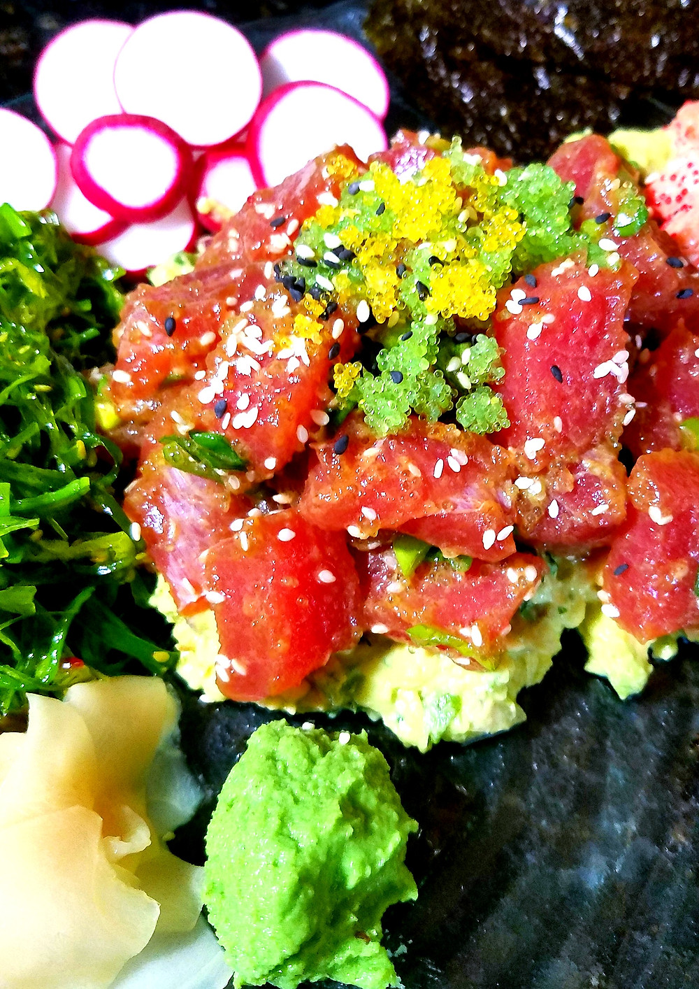 Spicy Tuna Poke Salad (Gluten-free, soy-free, dairy-free, grain-free)