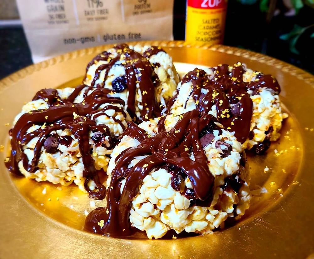 No-Bake Chocolate Glazed Popcorn Cakes (gluten-free, dairy-free, soy-free, grain-free)