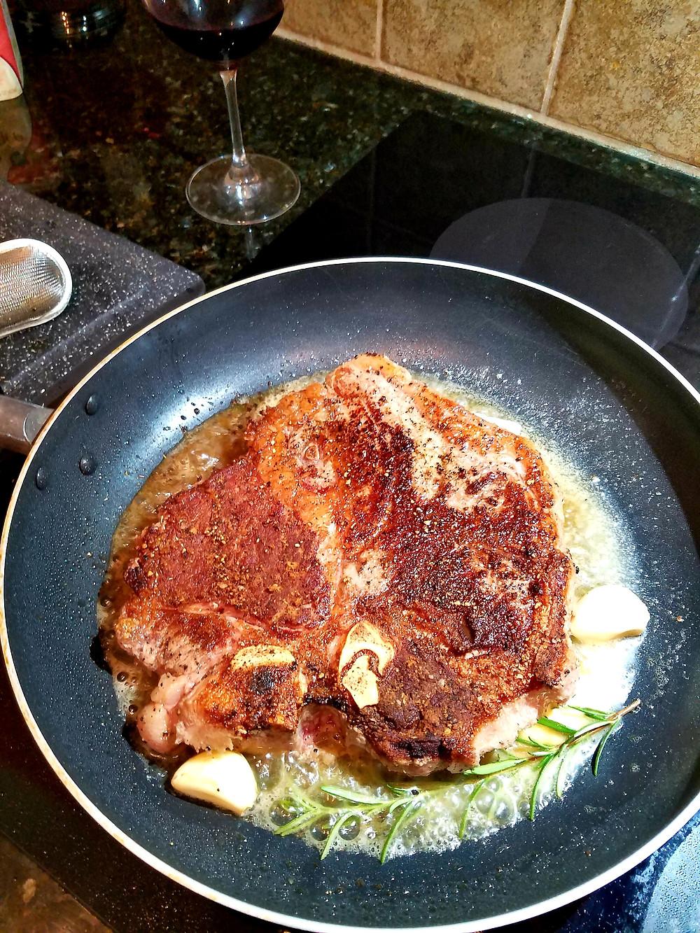 Butter-Basted T-Bone Steak (Gluten-free, no soy/grains)