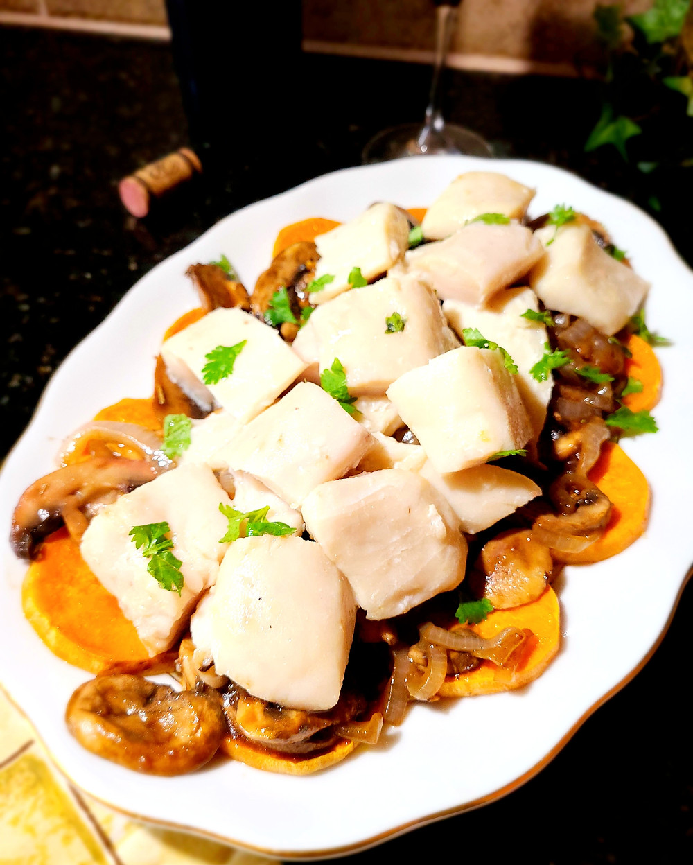 Poached White Fish Over Sweet Potatoes, Mushrooms, & Onions (Gluten-free, No Soy/Dairy/Grains)
