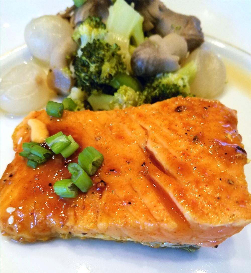 Easy Pan-Seared Glazed Salmon with Asian-Sesame Veggies (no gluten, soy, dairy)