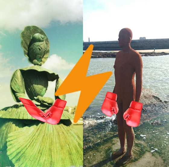 Boxing Contest of the Century: Shell Lady vs Gormley's Sculpture