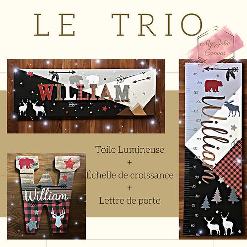 Trio - Toile Lumineuse + Echelle de Croissance + Lettre Plaque de porte