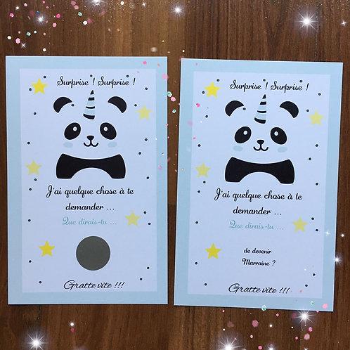 Carte à gratter Panda bleu - Demande Marraine