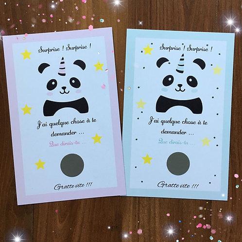 Carte à gratter Panda - Demande Parrain & Marraine