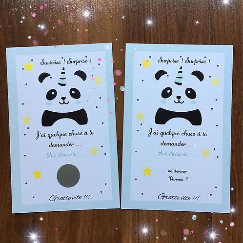 Carte à gratter Panda bleu - Demande Parrain