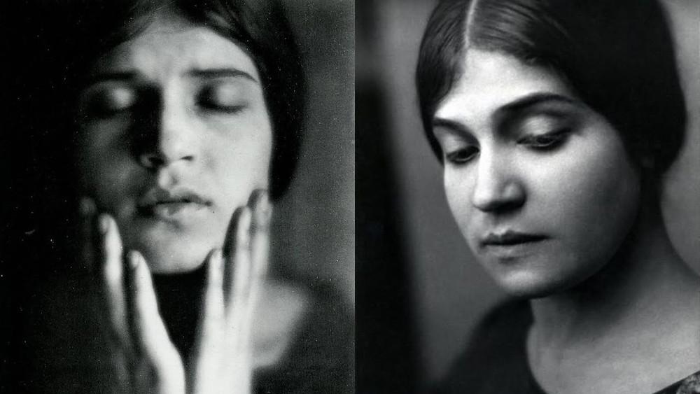 retrato de mulher com as mãos no rosto à esquerda e à direita a mesma mulher posa olhando para baixo