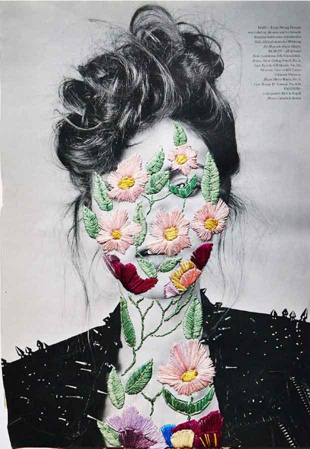 Fotografias vintange ganham bordados contemporâneos nas mãos do artista Jose Romussi