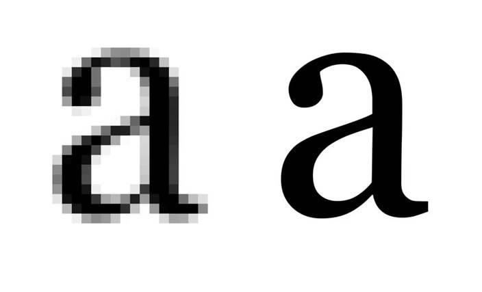 """Ilustração da letra """"a"""" feita com poucos pontos grandes à esquerda e com muitos pontos pequenos à direita."""