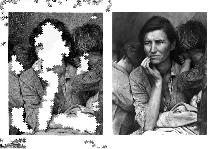 Fotografia de Dorothea Lange de uma mãe com duas crianças na grande depressão dos EUA.