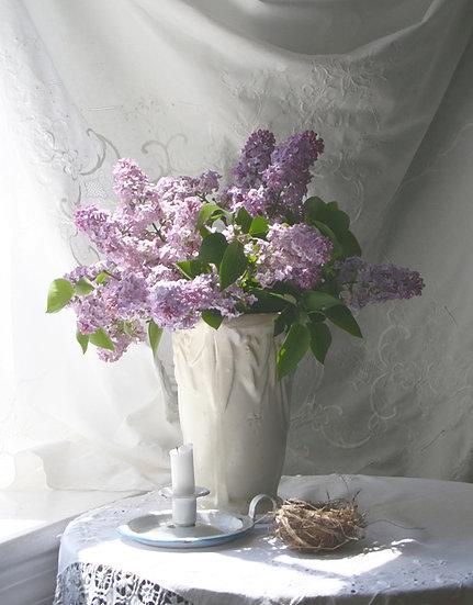Lilacs in Art Vase- Portrait Orientation