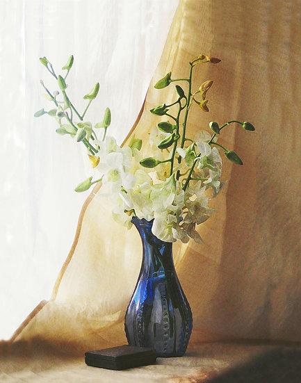 Orchids in Blue Vase - Portrait Orientation