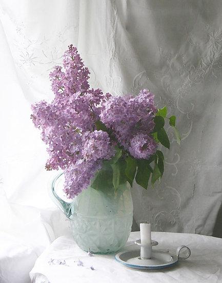 Lilacs and Candleholder- Portrait Orientation