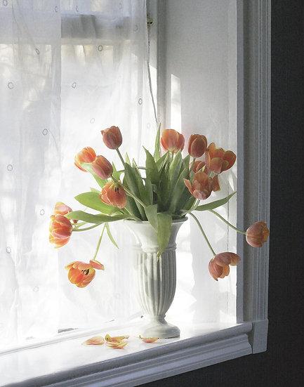Orange Tulips on the Windowsill - Portrait Orientation