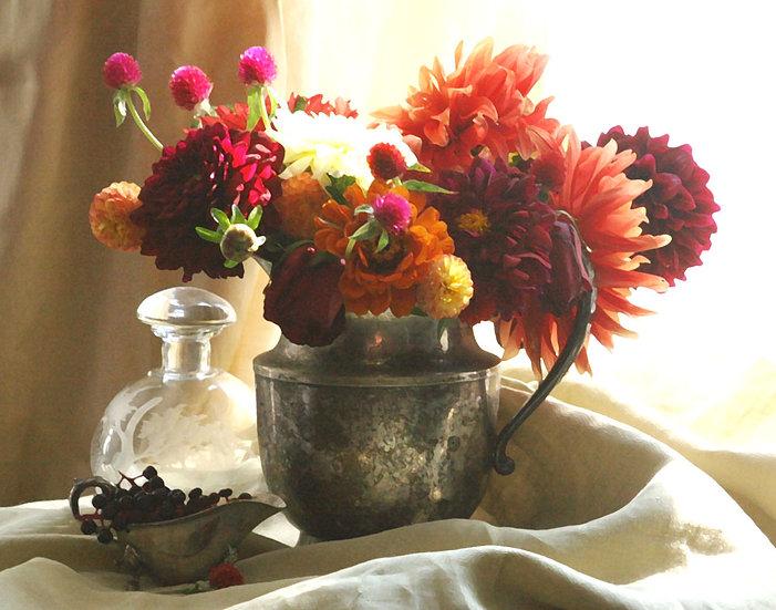 Autumn Blooms Still Life- Landscape Orientation