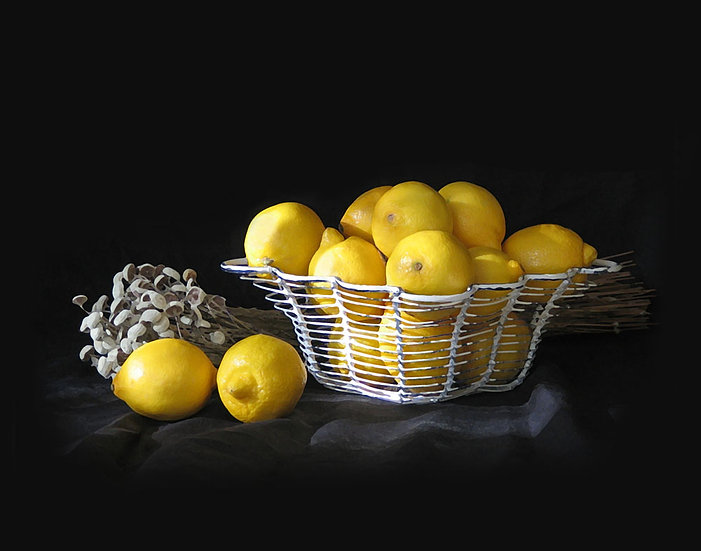 Lemons in Wire Basket- Landscape Orientation