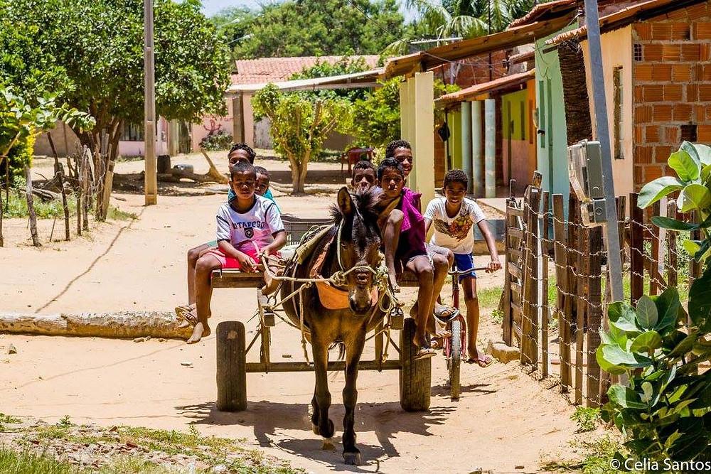 """Crianças dominam as ruas de terra da Ilha do Massangano, mas a tradição ali é de """"véio""""."""