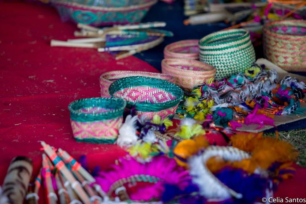 Artesanatos ficaram expostos para venda. Uma das fontes desses indígenas é a comercialização de artes. | Foto: Celia Santos