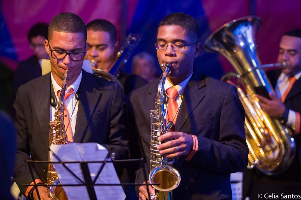 Músicos da Banda Filarmônica marcaram presença na solenidade de Abertura dos projetos. (Foto: Celia Santos)
