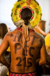 Lideranças indígenas de diversas partes do país protestam contra a PEC 215.