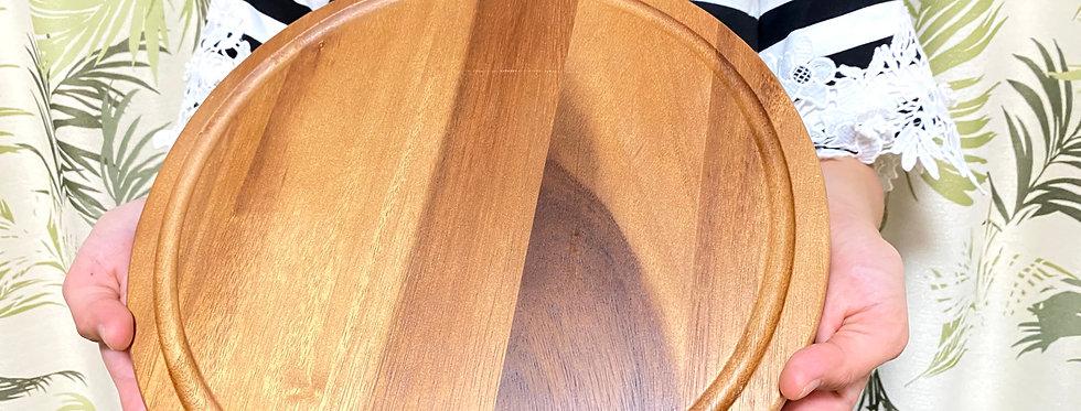 (M Size) 天然木製ピザプレート(表面:溝付きプレート用・裏面:まな板用)