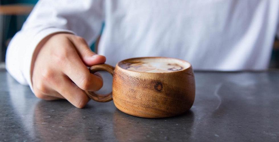 (M Size) 木製 ハンドメイド・コーヒー&スープカップ