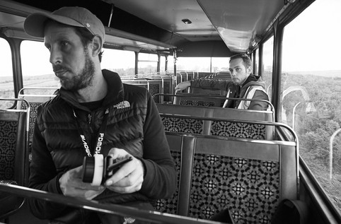 1st AC Edmund Renew and producer David Freeman keeping sharps and shedule tight on the road.