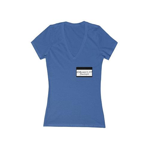 Hi! Women's Jersey Short Sleeve Deep V-Neck Tee