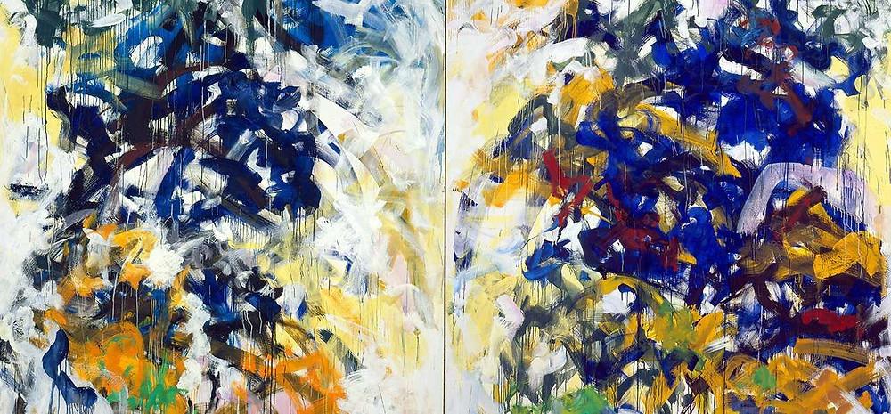 Joan Mitchell. Beauvais, 1986. Huile sur toile, diptyque. 280.0 x 400.1 cm. Collection Fondation Louis Vuitton, Paris. © The Estate of Joan Mitchell