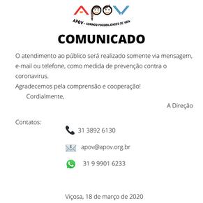 Coronavirus: comunicado!
