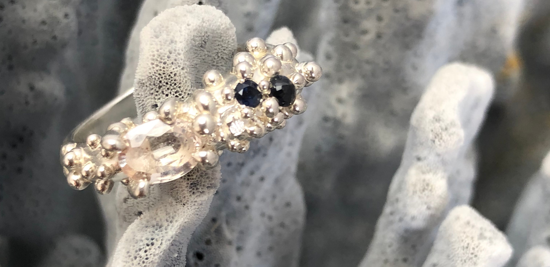 Coral Inspired Blue and White Sapphire Ring