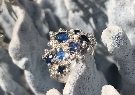 Coral Inspired Sapphire Cluster ring