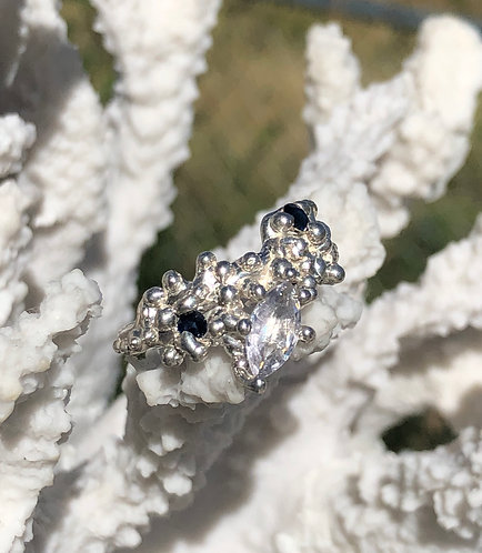 Coral inspired White Marquise and Blue Sapphire ring
