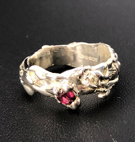 Handmade Silver ring with Ruby and White Sapphire