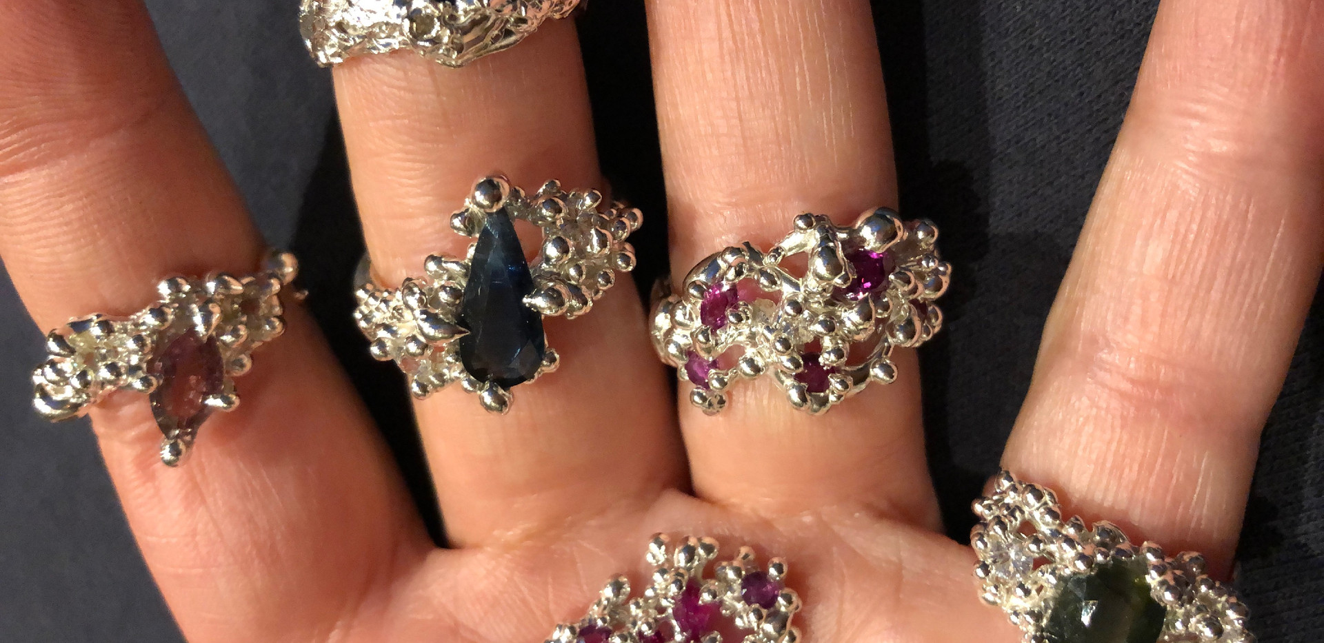 Coral Inspirations, Pendand and Rings with Sapphires and Rubies