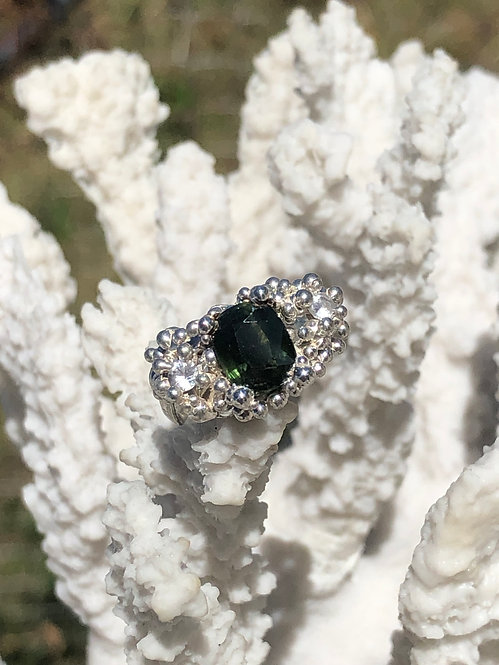 2.93 carat Dark Green Sapphire Coral Inspired Ring