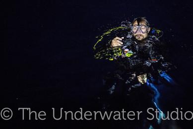 diver in the dark