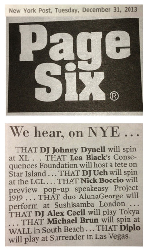 "DJ UCH FEATURED IN NEW YORK'S ""PAGE SIX"""