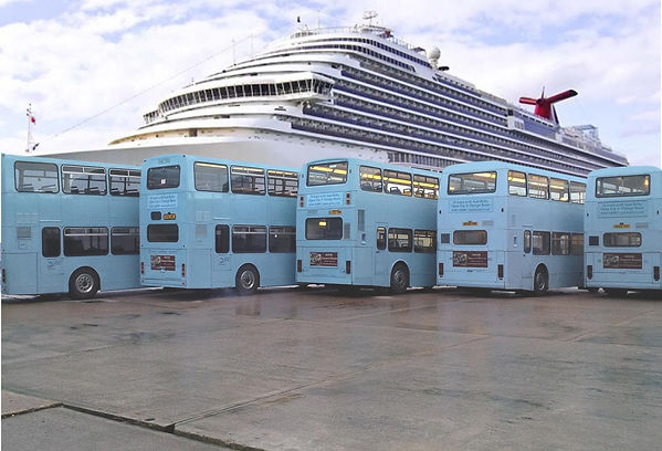 YMS Travel Buses waiting on th Dockside in Dover