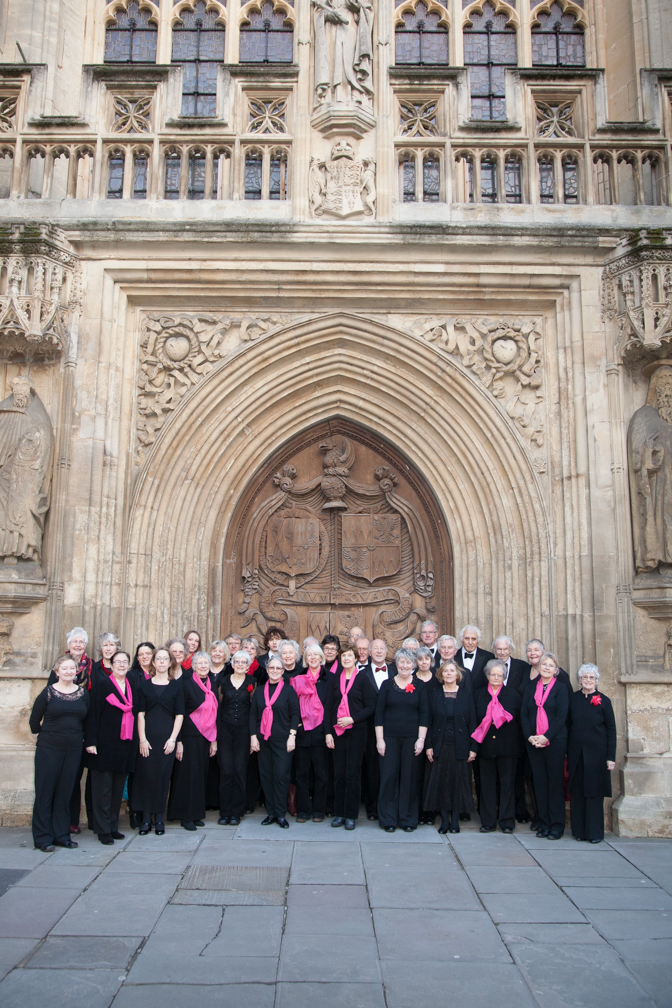 The choir outside Bath Abbey