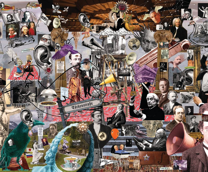 Backdrop collage, including most of the key personalities, events and performances that were a part of the philharmonic.