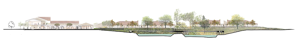 Landscape cross-section, Dax France, Alzheimer Village