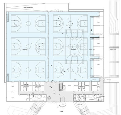 Overview from above: Large indoor court facility